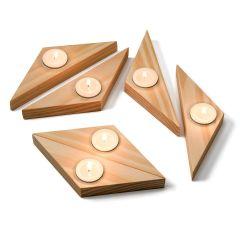 jogo de castiçal modular em madeira Guria marcenaria.