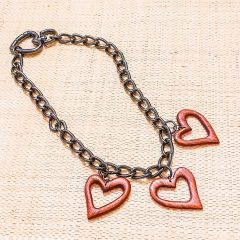 colar 3 corações vazados madeira
