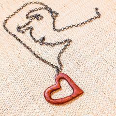 colar coração vazado