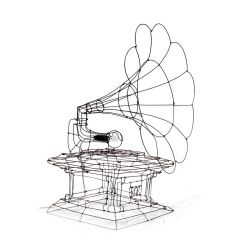 gramofone escultura de arame